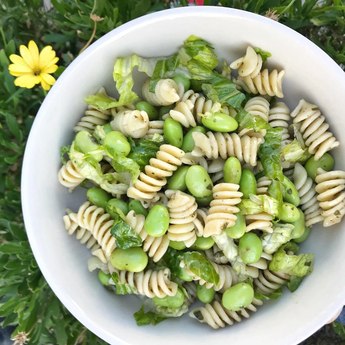 Edamame & Pesto Pasta Salad